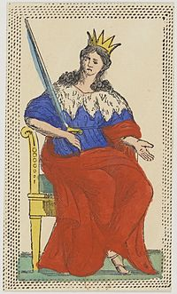 Minchiate card deck - Florence - 1860-1890 - Swords - 13 - Queen.jpg