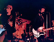 Members of Mink DeVille in 1977; Louis X. Erlanger (left) and Willy DeVille (right)