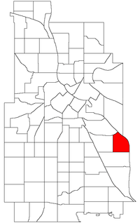 Location of Cooper within the U.S. city of Minneapolis