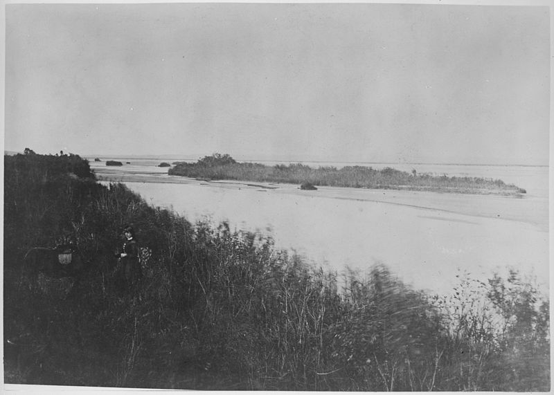 Missouri River near Omaha Indian Agency. Mrs. W.H. Jackson in foreground. - NARA - 516607.jpg