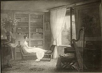 Private library - Mme Recamier in her library