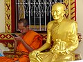 Monk and Monk Sculpture - Wat Phra That Doi Suthep - Outside Chiang Mai - Thailand (35154551745).jpg