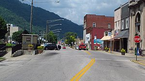 Montgomery, West Virginia - Third Avenue in Montgomery.  The Montgomery Amtrak station is on the left.