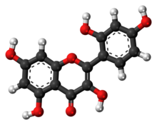 Ball-and-stick model of the morin molecule
