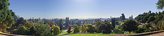 Mountain View Cemetery (Oakland, California) - Panoramic view from the rear of the cemetery, looking out across the San Francisco Bay