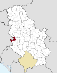 Location of the municipality of Bajina Bašta within Serbia
