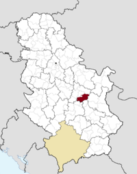 Location of the municipality of Paraćin within Serbia