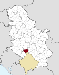 Location of the municipality of Raška within Serbia