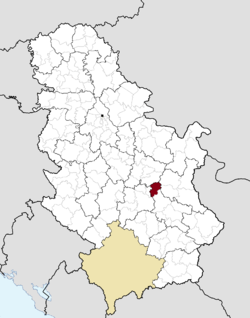 Location of the municipality of Ražanj within Serbia