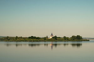 Mušov - St Leonard's church, the only remaining building left from the village of Mušov, standing on a small island in the middle of the Věstonice Reservoir.