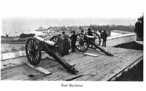 Muzzle loading cannons, at Fort Mackinac, from Curwood's 1909 The Great Lakes -bd.png