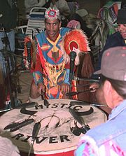 Mystic River Singers performing at a pow wow in 1998.