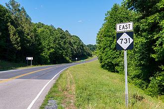North Carolina Highway 731 - Eastbound NC 731, towards Mount Gilead