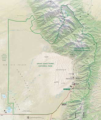 Great Sand Dunes National Park and Preserve - Park map