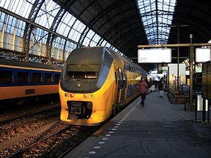 Transport in Amsterdam - NS double-decker train at Amsterdam Central Station