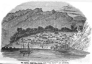 Savusavu - Image: Na Savu, Feejee, with the Na Savu at Anchor (March 1853, X, p.24) Copy