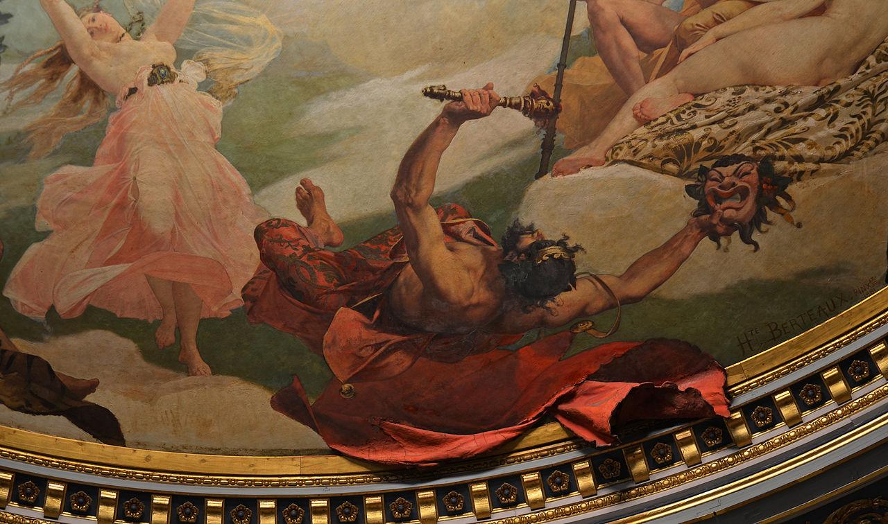 Hippolyte Berteaux, 1813. O Deus Momo (detalhe da pintura do teto do Teatro Graslin, em Nantes, França).