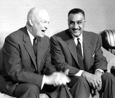 Presidents Eisenhower and Nasser meeting in New York, 1960 Nasser and Eisenhower, 1960.jpg