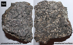 Nepheline syenite - Hand samples of nepheline syenite of the Ordovician Beemerville Complex, northern New Jersey