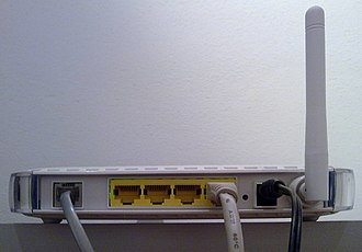 Netgear DG834 (series) - Netgear DG834G v4 rear plugs, in order: the RJ-11, the Ethernet switch (4 ports, from v3 is yellow coloured), the reset, the DC power plug, the 2.4GHz antenna