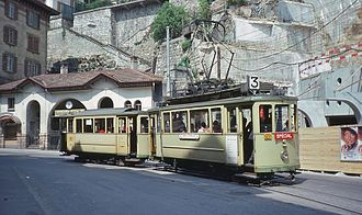 Trams in Neuchâtel - A tram set on route 3, the last urban route, in May 1976