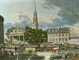 "Scudder's American Museum - The leftmost part of this 1861 lithograph shows a part of Scudder's American Museum (the letters ""Museum"" can be made out) in 1831, in its final location across from St. Paul's"