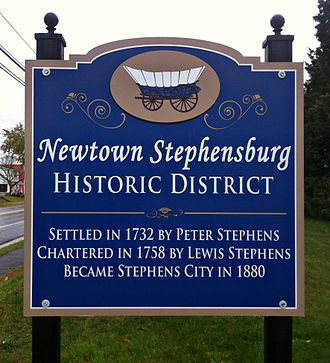 Stephens City, Virginia - Signage upon entering the town's Newtown-Stephensburg Historic District.