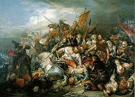 Bataille des éperons d'or (étude), Nicaise de Keyser, 1836.