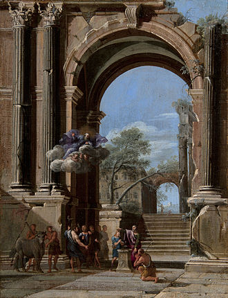 Niccolò Codazzi - St Peter baptizing the centurion and the Arch of Titus