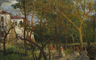 "Alexandru Bogdan-Pitești - Nicolae Vermont's Vara la conac (""Summer at the Manor""), a 1912 depiction of Bogdan-Pitești's estate"