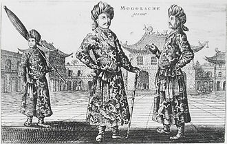 "Moghulistan - ""Moghul"" envoys seen in Beijing in 1656 by Johan Nieuhof, who took them for representatives of the Moghuls of India. However, Luciano Petech (1914–2010) classifies them visitors from Turfan in Moghulistan."