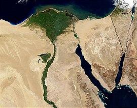 Satelitná snímka delty nílu