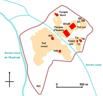 Nippur - Map of the site in French