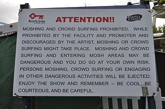 Moshing - A no-moshing sign at a concert
