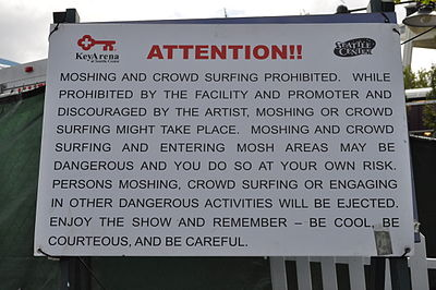 A no-moshing sign at a concert No moshing sign, Bumbershoot 2010.jpg