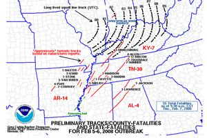 2008 Super Tuesday tornado outbreak - Map of reported tornadoes (tornadoes in red)
