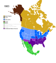 Map showing Non-Native American Nations Control over N America c. 1863