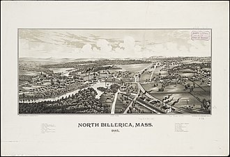 North Billerica, Massachusetts - Print of North Billerica from 1887 by L.R. Burleigh with lost of landmarks