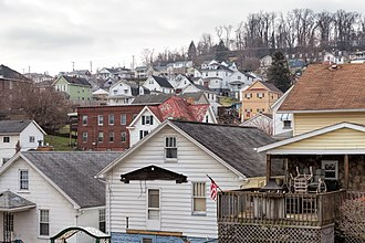 North Charleroi, Pennsylvania - Looking southwest up the hill across much of the town from the south end of Olive Ave