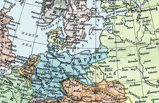 Germany is bordered in the northwest by the North Sea, across which is Great Britain, and in the northeast by the Baltic Sea and its rival Russia