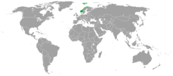 Map indicating locations of Norway and Kosovo