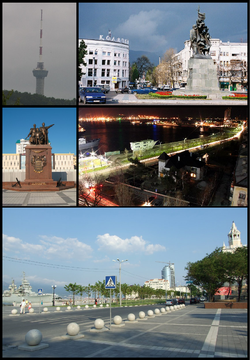 Clockwise from the top: Novorossiysk TV Tower, Freedom Square, City Harbor, Shore Promenade, Turkish War Monument