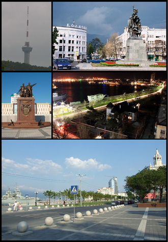 Novorossiysk - Clockwise from the top: Novorossiysk TV Tower, Freedom Square, City Harbor, Shore Promenade, Turkish War Monument