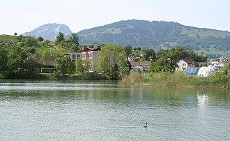 Wangen, Schwyz - Lake Zurich and the hamlet of Nuolen in Wangen, SZ