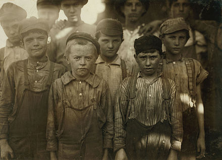 Child labor at Avondale Mills in Birmingham in 1910; photo by Lewis Hine OUR BABY DOFFER.jpg