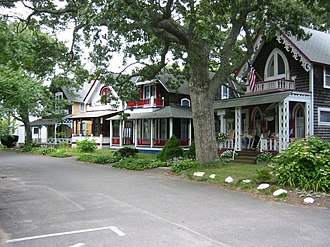 Oak Bluffs, Massachusetts - A row of cottages in the Campground area