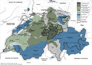 Switzerland - The Old Swiss Confederacy from 1291 (dark green) to the sixteenth century (light green) and its associates (blue). In the other colours are shown the subject territories.
