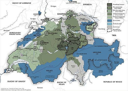 The Old Swiss Confederacy from 1291 (dark green) to the sixteenth century (light green) and its associates (blue). In the other colours are shown the subject territories. Old Swiss Confederation.jpg