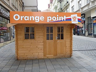 "2010 Czech legislative election - ""Orange point"" ČSSD kiosk in Brno"