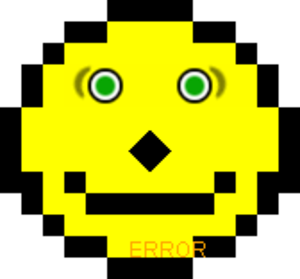 "Acid2 - The smiley face of the first version of Acid2. Due to problems in this version of the test, the mouth is too close to the nose and the text ""ERROR"" appears even in a standards-compliant browser."